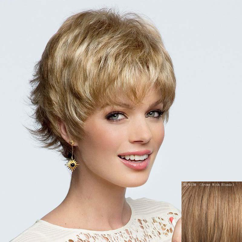 New Elegant Short Side Bang Fluffy Wavy Side Bang Capless Human Hair Wig For Women