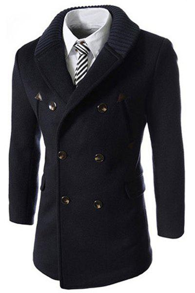Knitted Lapel PU Leather Spliced Multi-Button Slimming Long Sleeves Mens Woolen Blend Thicken Peacoat