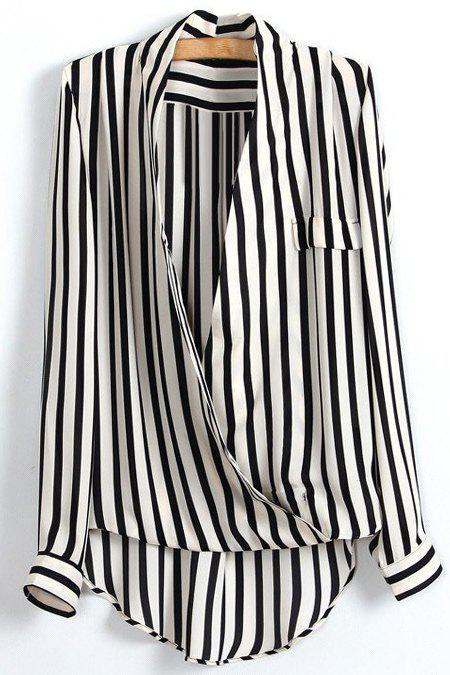 Discount Striped Plunging Neck Wrap Blouse