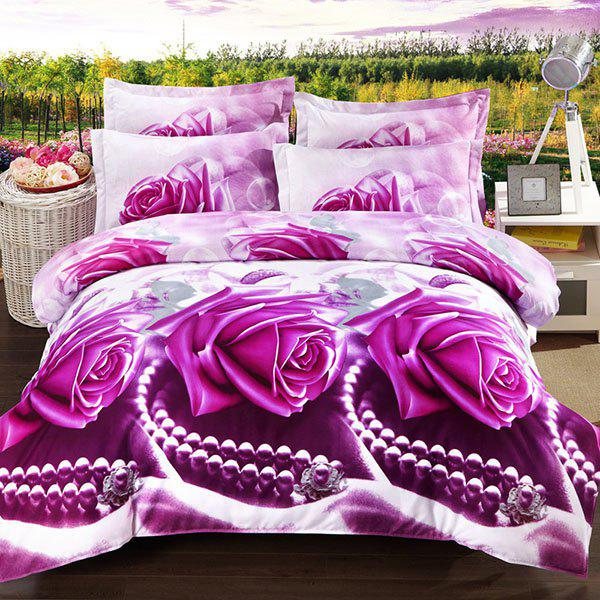 violet rose full new 3d oil painting pearl and rose pattern 4 pcs duvet cover sets without. Black Bedroom Furniture Sets. Home Design Ideas