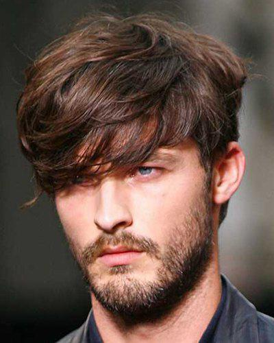 Discount Deep Brown Mixed Stylish Synthetic Short Inclined Bang Fluffy Natural Wavy Capless Wig For Men