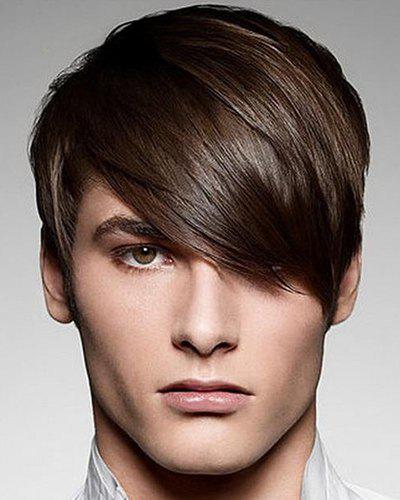 Fashion Silky Straight Short Synthetic Stunning Deep Brown Capless Inclined Bang Wig For MenHAIR<br><br>Color: DEEP BROWN; Type: Full Wigs; Cap Construction: Capless; Style: Straight; Cap Size: Average; Material: Synthetic Hair; Bang Type: Side; Length: Short; Length Size(CM): 25; Weight: 0.14KG; Package Contents: 1 x Wig;