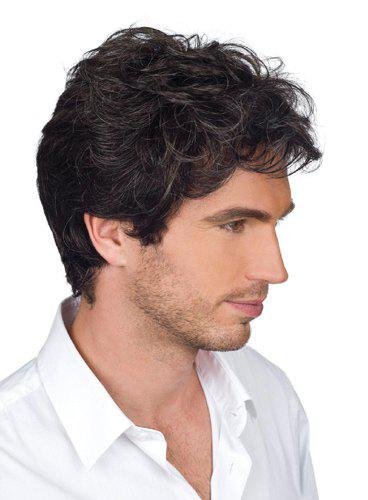 Shops Handsome Short Capless Shaggy Wavy Side Bang Heat Resistant Synthetic Wig For Men
