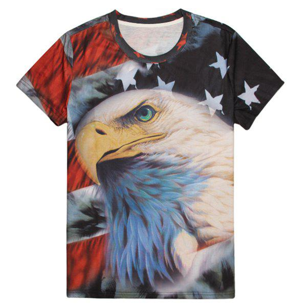 Latest Round Neck 3D Bald Eagle Flag Print Slimming Short Sleeve Men's T-Shirt