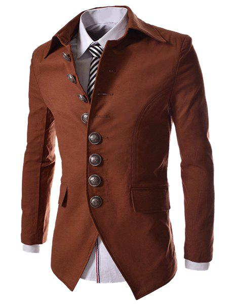 Outfits Modish Slimming Turndown Collar Single Breasted Long Sleeve Cotton Blend Blazer For Men