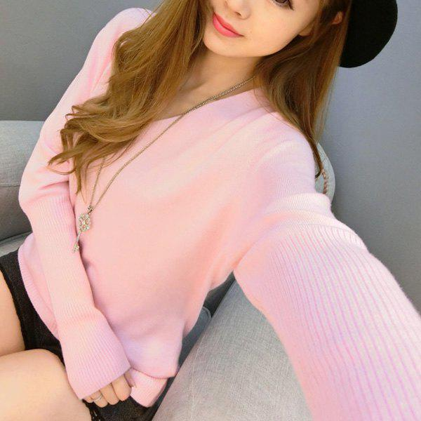 Refreshing Solid Color V-Neck Long Sleeve Knitwear Women L