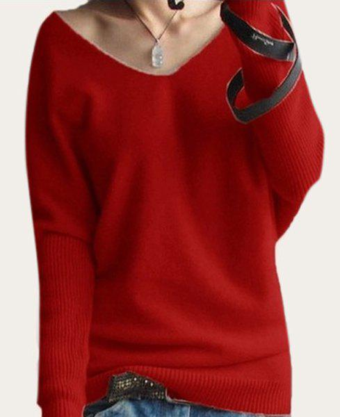 Refreshing Solid Color V-Neck Long Sleeve Knitwear Women 2XL
