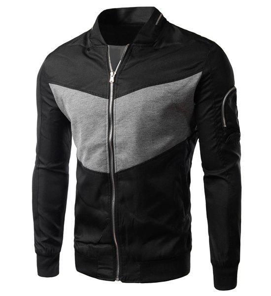 Hot Modish Fitted Stand Collar Color Block Splicing Zipper Design Long Sleeve Polyester Jacket For Men