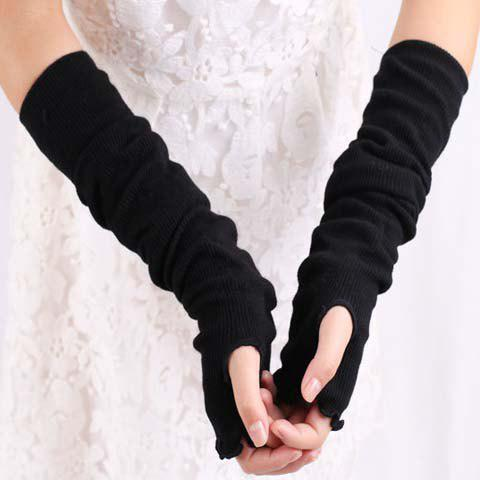 Pair of Chic Simple Pure Color Fingerless Gloves For Women