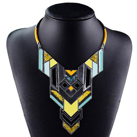 Fantastic Geometric Square Colored Glaze Necklace For WomenJEWELRY<br><br>Color: YELLOW; Item Type: Pendant Necklace; Gender: For Women; Style: Classic; Shape/Pattern: Geometric; Length: 42CM; Weight: 0.17KG; Package Contents: 1 x Necklace;