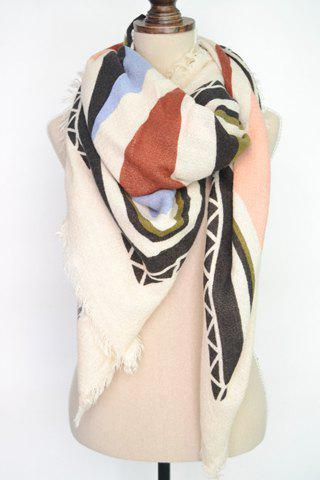 Trendy Chic Fringed Edge Triangle Pattern Big Square Pashmina For Women