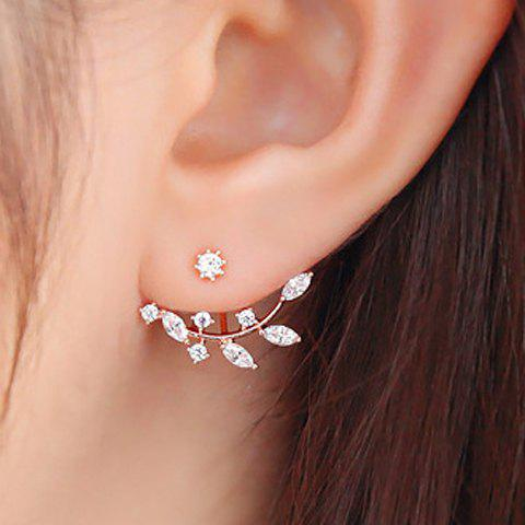 Rhinestoned Leaf Branch EarringsJEWELRY<br><br>Color: ROSE GOLD; Earring Type: Stud Earrings; Gender: For Women; Material: Rhinestone; Style: Trendy; Shape/Pattern: Plant; Length: 2CM-3CM; Weight: 0.050kg; Package Contents: 1 x Earrings(Pair);