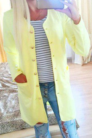 Hot Refreshing Candy Color Single-Breasted Straight Trench Coat For Women
