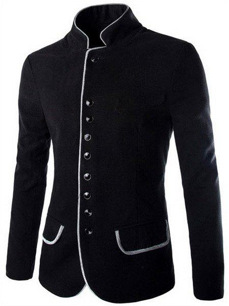 Trendy Slimming Stand Collar Single Breasted Color Block Edging Long Sleeve Woolen Blend Blazer For MenMEN<br><br>Size: M; Color: BLACK; Material: Polyester,Wool; Fabric Type: Woolen; Shirt Length: Regular; Sleeve Length: Long Sleeves; Closure Type: Single Breasted; Weight: 0.7560kg; Package Contents: 1 x Blazer;
