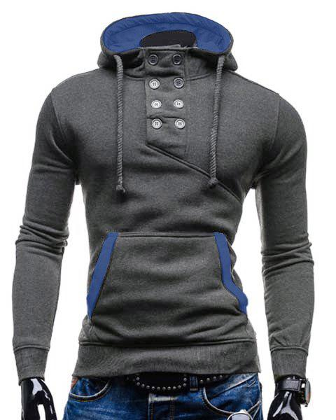 Chic Trendy Hooded Double Breasted Pocket Hemming Slimming Long Sleeve Cotton Blend Hoodie For Men