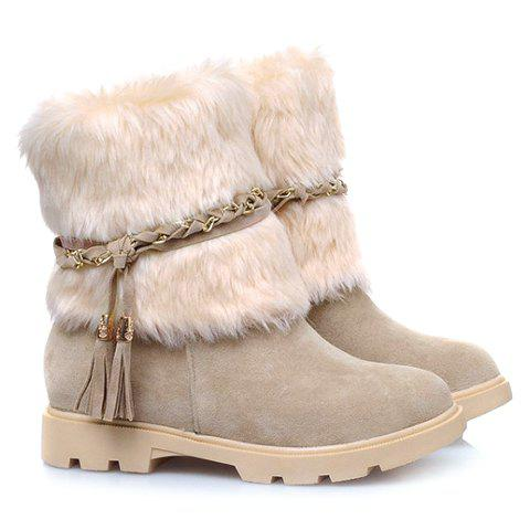 Faux Fur Tassels Snow BootsSHOES &amp; BAGS<br><br>Size: 36; Color: APRICOT; Gender: For Women; Boot Type: Snow Boots; Boot Height: Ankle; Boot Tube Height: 16CM; Boot Tube Circumference: 28CM; Toe Shape: Round Toe; Heel Type: Flat Heel; Heel Height Range: Low(0.75-1.5); Closure Type: Slip-On; Pattern Type: Patchwork; Embellishment: Tassel; Upper Material: Flock; Weight: 1.160KG; Season: Winter; Platform Height: 2CM; Heel Height: 3CM; Package Contents: 1?Boots (Pair);