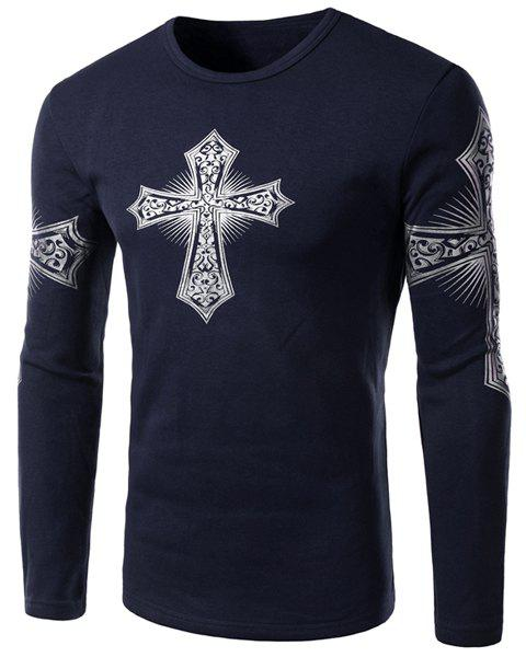Store Modern Style Round Neck Color Block Special Cross Print Slimming Long Sleeves Men's Flocky T-Shirt