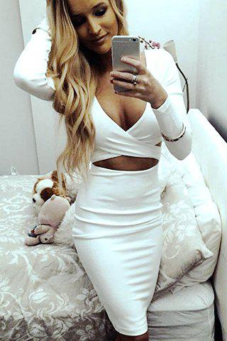 Outfit Long Sleeve Plunge Criss Cross Bodycon Dress
