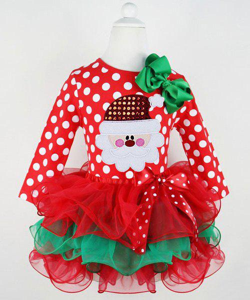 Cute Polka Dot Santa Claus Spliced Multilayered Christmas Mini Dress For GirlKIDS<br><br>Size: 120; Color: RED; Style: Novelty; Material: Polyester; Silhouette: Ball Gown; Dresses Length: Mini; Neckline: Round Collar; Sleeve Length: Long Sleeves; Pattern Type: Polka Dot; With Belt: No; Season: Fall; Weight: 0.20KG; Package Contents: 1 x Dress;