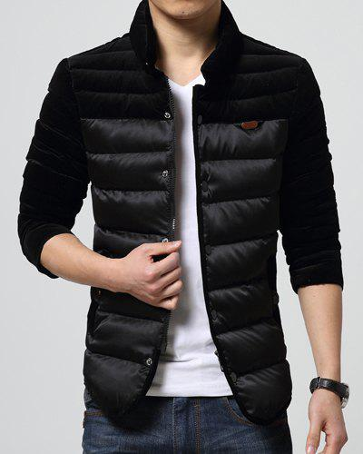 Fancy Thicken Stand Collar Corduroy Spliced PU Leather Badge Slimming Long Sleeves Men's Plus Size Jacket
