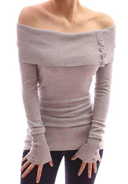 Latest Sexy Off-The-Shoulder Solid Color Buttoned Bodycon Sweater For Women