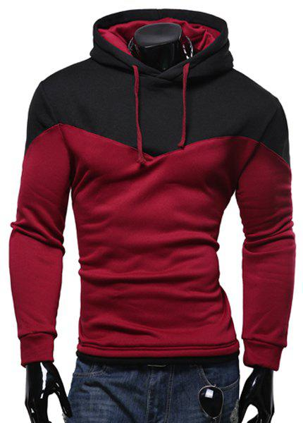Personality Hem Color Lump Splicing Slimming Hooded Long Sleeves Men's Casual Hoodie - Wine Red M