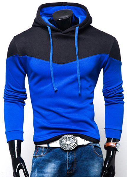 Color Block Panel Hooded Long Sleeves HoodieMEN<br><br>Size: M; Color: SAPPHIRE BLUE; Material: Cotton Blends; Shirt Length: Regular; Sleeve Length: Full; Style: Casual; Weight: 0.450kg; Package Contents: 1 x Hoodie;