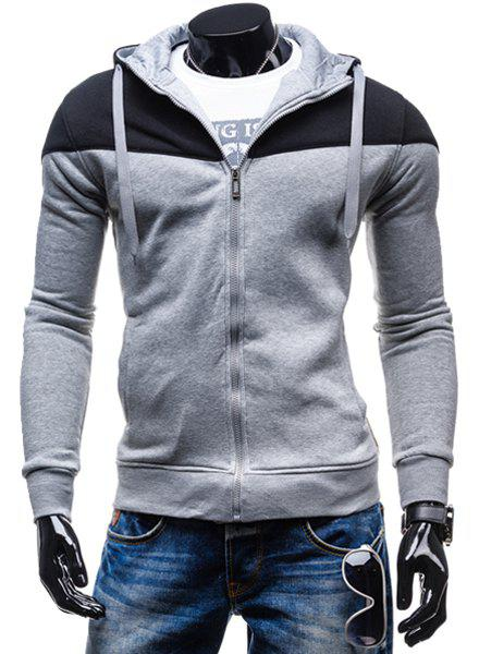 Fashion Two-Tone Spliced Front Pocket Slimming Hooded Long Sleeves Mens Zip Up HoodieMEN<br><br>Size: XL; Color: LIGHT GRAY; Material: Cotton Blends; Shirt Length: Regular; Sleeve Length: Full; Style: Fashion; Weight: 0.405KG; Package Contents: 1 x Hoodie;