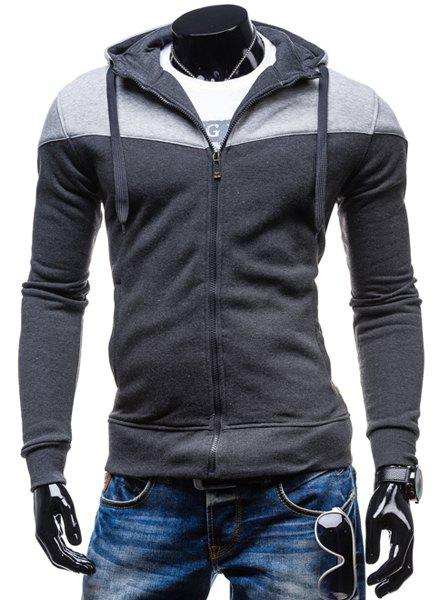 Fashion Two-Tone Spliced Front Pocket Slimming Hooded Long Sleeves Mens Zip Up HoodieMEN<br><br>Size: XL; Color: DEEP GRAY; Material: Cotton Blends; Shirt Length: Regular; Sleeve Length: Full; Style: Fashion; Weight: 0.405KG; Package Contents: 1 x Hoodie;
