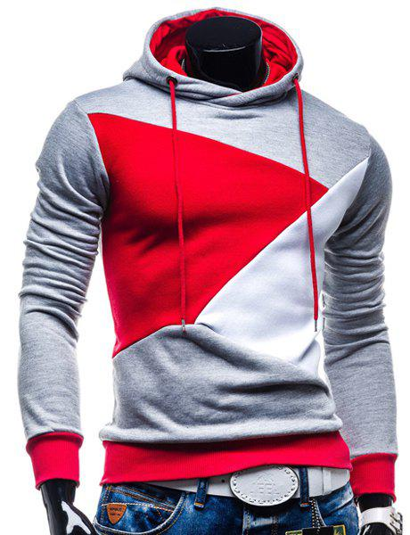 Irregular Color Lump Spliced Rib Hem Slimming Hooded Long Sleeves Mens Casual HoodieMEN<br><br>Size: XL; Color: LIGHT GRAY; Material: Cotton Blends; Shirt Length: Regular; Sleeve Length: Full; Style: Casual; Weight: 0.4380kg; Package Contents: 1 x Hoodie;