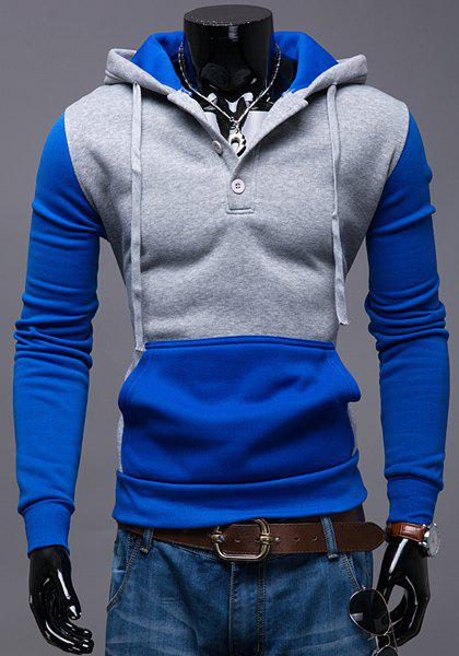Single-Breasted Hooded Front Pocket Color Splicing Slimming Men's Long Sleeves Hoodie от Rosegal.com INT