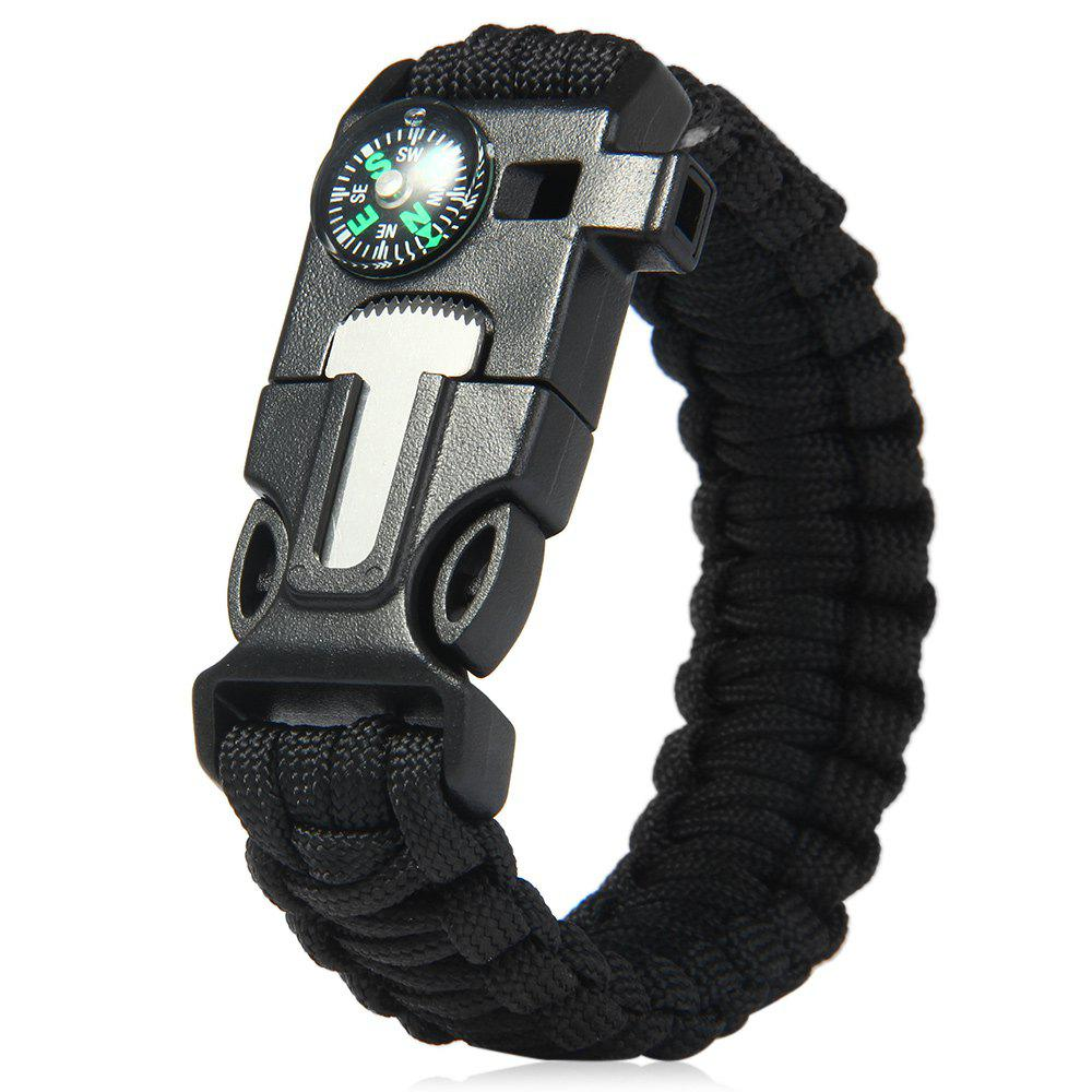 5 in 1 Outdoor Survival Gear Escape Paracord Bracelet Flint / Whistle / Compass / ScraperJEWELRY<br><br>Color: BLACK; Product weight: 0.0310 kg; Package weight: 0.0680 kg; Product Size(L x W x H): 26.80 x 3.15 x 1.20 cm / 10.55 x 1.24 x 0.47 inches; Package Size(L x W x H): 26.85 x 3.17 x 1.32 cm / 10.57 x 1.25 x 0.52 inches;