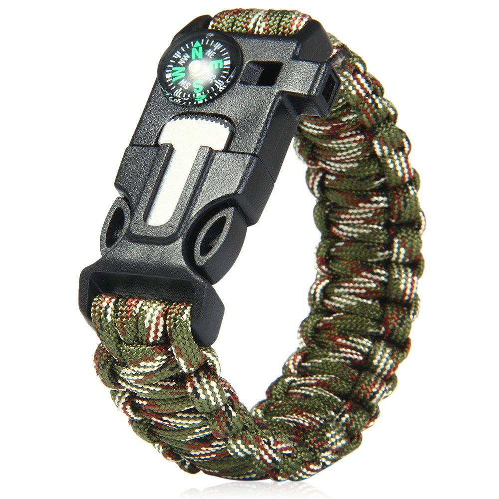 Chic 5 in 1 Outdoor Survival Gear Escape Paracord Bracelet Flint / Whistle / Compass / Scraper