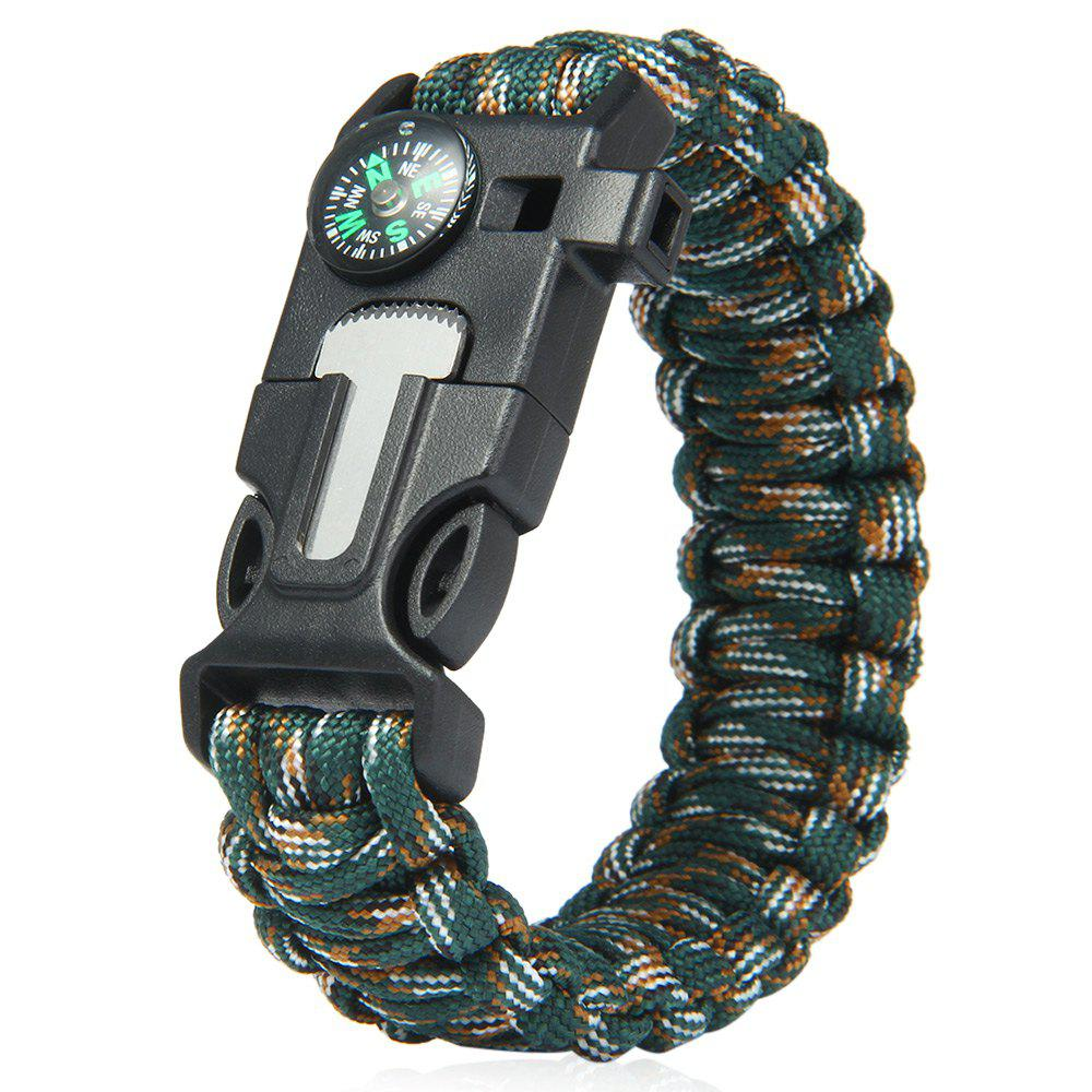 Outfit 5 in 1 Outdoor Survival Gear Escape Paracord Bracelet Flint / Whistle / Compass / Scraper