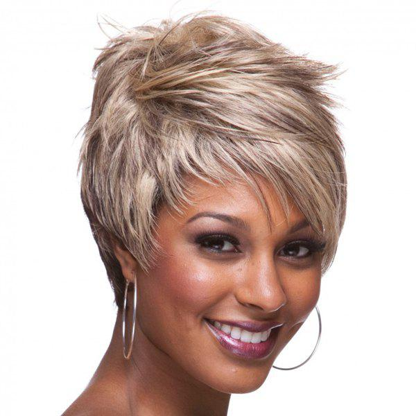 Store Bouffant Side Bang Straight Spiffy Ultrashort Synthetic Two-Tone Ombre Capless Wig For Women