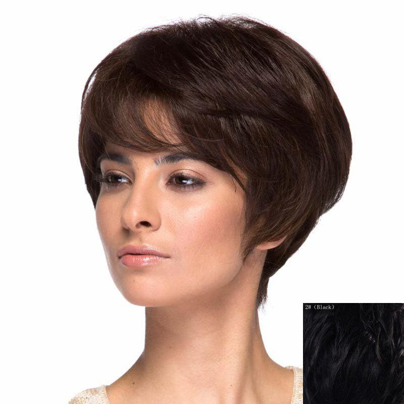 New Assorted Color Short Elegant Side Bang Capless Fluffy Wavy Real Natural Hair Wig For Women