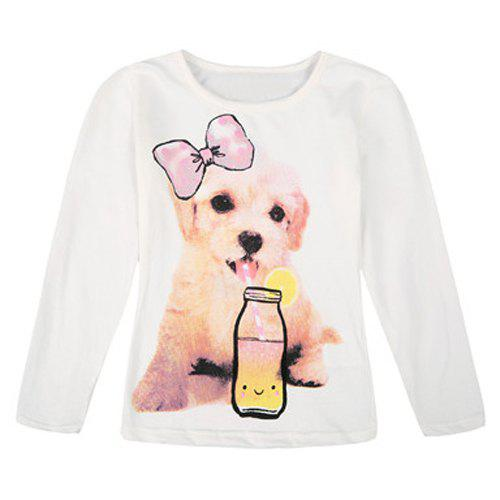 Affordable Stylish Long Sleeve Round Neck Dog and Bottle Pattern Girl's T-Shirt