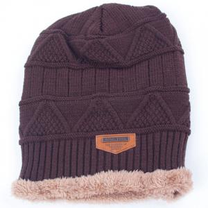 Stylish Label Embellished Triangle Jacquard Knitted Beanie For Men -