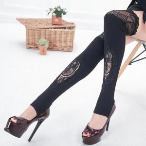 Pair of Chic Hollow Out Lace Embellished Foot Step Leg Warmers For Women -