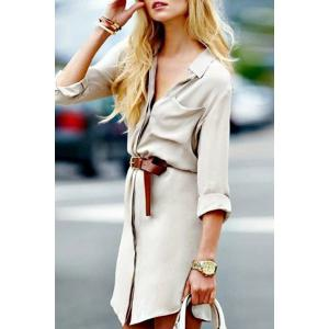 Stylish Shirt Collar Long Sleeve Pure Color Pocket Design Women's Dress