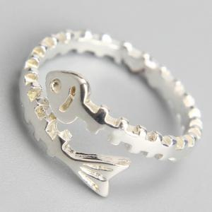 Alloy Fish Bone Cuff Ring -