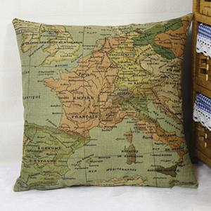 Chic Home Decorative Linen Blended Cover Map Printed Pillow Case - COLORMIX