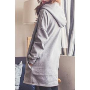 Stylish Hooded Long Sleeve Loose Fitting Pocket Design Women's Hoodie - GRAY L