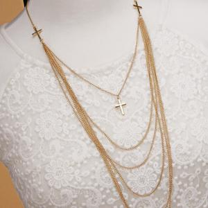 Delicate Cross Layered Necklace For Women -