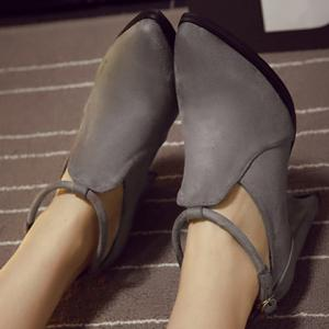 Stylish Ankle Strap and Pointed Toe Design Women's Pumps - GRAY 39