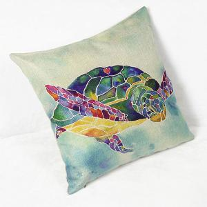 Charming Colorful Cartoon Animal Printed Square New Composite Linen Blend Pillow Case -