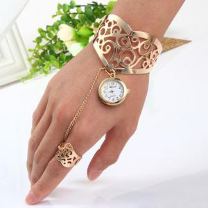 Ailisha Hollow-out Pattern Bracelet Quartz Watch with Steel Strap Ring Round Dial for Women - Golden - One-size