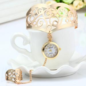 Ailisha Hollow-out Pattern Bracelet Quartz Watch with Steel Strap Ring Round Dial for Women - GOLDEN