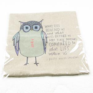 Charming Cartoon Owl Printed Square Composite Linen Blend Pillow Case -