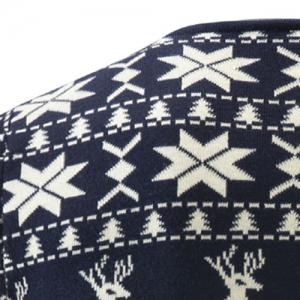 Hot Sale V-Neck Christmas Snowflake Fawn Intarsia Color Block Slimming Men's Long Sleeves Sweater - CADETBLUE M
